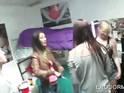 Coeds hungry for sex drink and get nasty at dorm room party