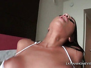 Turned on Latina babe caught humping large dick in POV style