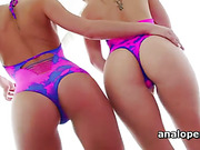 Lesbian blonde hotties toying and licking wet pink twats