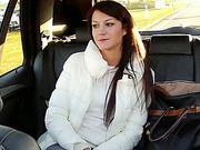 Lonely girlfriend gets fucked hard in taxi and receives juicy douche