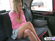 Blonde chic came back from Amsterdam fucked in the taxi