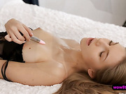 Hot blonde babe Anjelica plays with her sweet little pussy