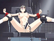 Captive hentai gets electric shocks and dildoed pussy